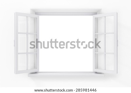 Open window in the white wall - stock photo