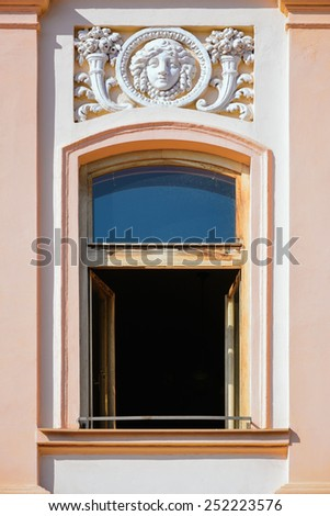 Open Window Of An Old Building - stock photo