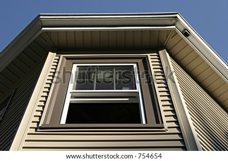 Open Window on a Home under Construction - stock photo