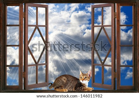 Open window overlooking the sky - stock photo