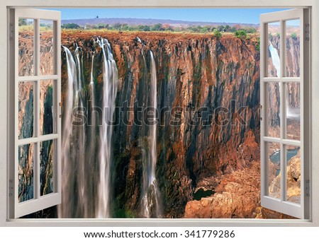 Open window panoramic view to famous Victoria falls - stock photo