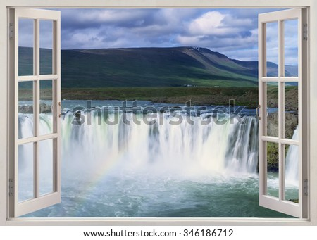 Open window panoramic view to Godafoss Iceland - stock photo