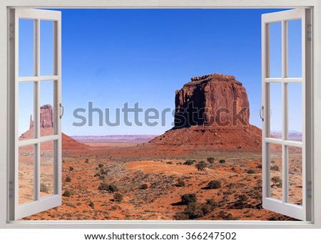 Open window panoramic view to Monument valley - stock photo