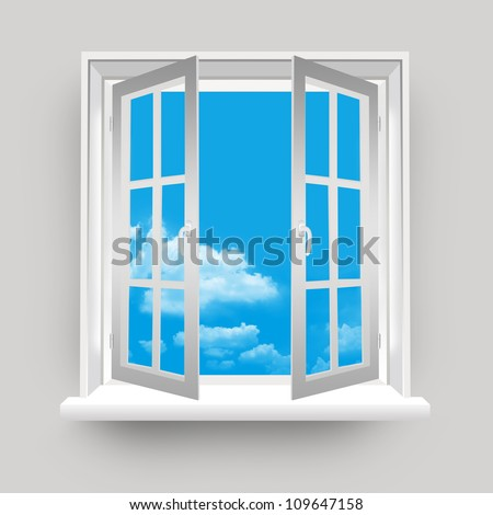 Open Window to Blue Sky Background