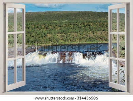 Open window view to wide waterfall in the river, Finland - stock photo