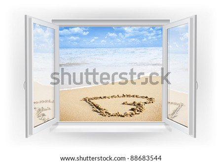 Open window with beach on a background - stock photo