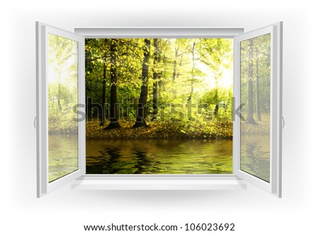 Open window with forest on a background - stock photo