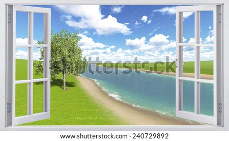 Open window with river view - stock photo