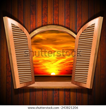 Open Window with View of the Sunset. Brown wooden window with open shutters and view of a beautiful sunset over the sea with cloudy sky, on wooden wall. - stock photo