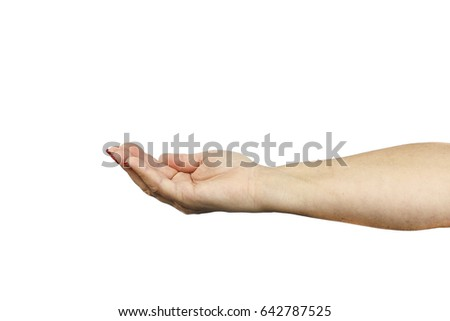 Open woman hand isolated on white background, clipping path.