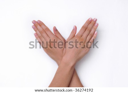 Open Woman Hands on the White Background