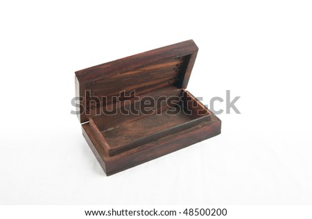 Open wood box empty on white background
