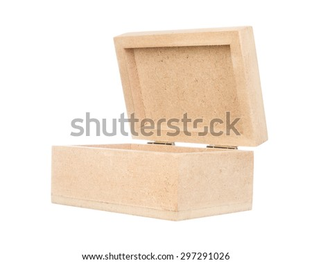 Open wood box isolated on white background