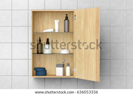 open wooden bathroom cabinet with cosmetics and bath products isolated on white tiled wall with clipping