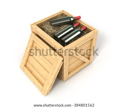 Open wooden box with bottles of wine inside isolated on white
