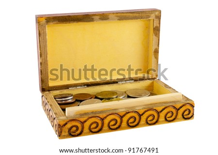 Open wooden box with coins isolated