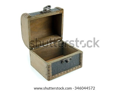 open wooden chest isolated on white background. open space to the right