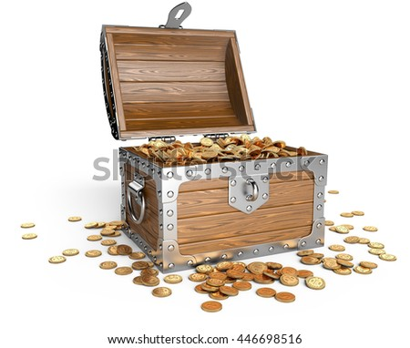 Open wooden treasure chest with golden coins. Isolated on a white background 3d image. - stock photo