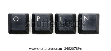Open word written with black keyboard buttons.