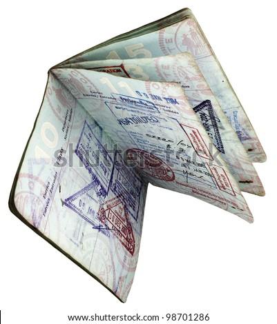 open worn  US passport - stock photo