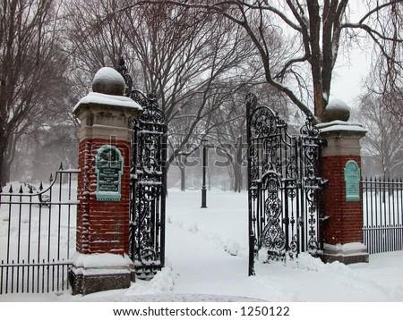open wrought iron gates,snow,Brown University - stock photo