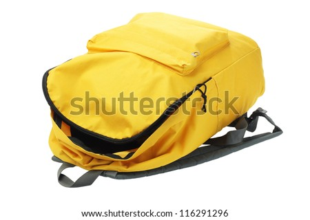 Open Yellow Backpack Lying on White Background - stock photo