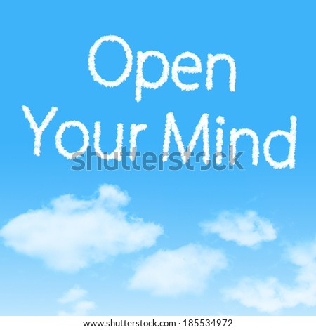 Open Your Mind cloud icon with design on blue sky background - stock photo