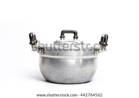 Open zinc cooking pot isolated on white with clipping path