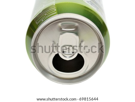 Opened aluminum can for soft drinks or beer isolated on white - stock photo