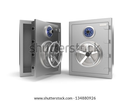 Opened and closed bank vault