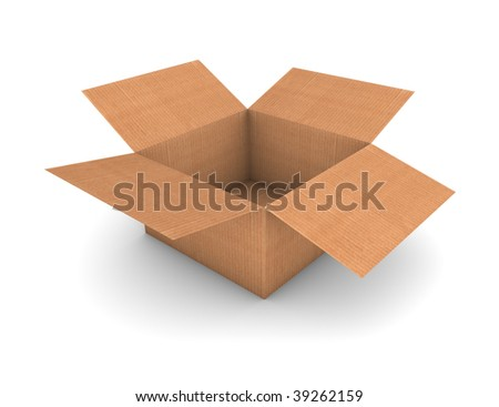 Opened and empty cardboard box isolated in a white background