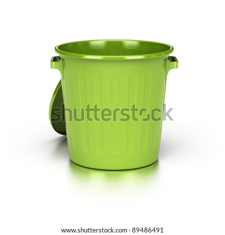 opened and empty green trash bin over a white background with reflection. - stock photo