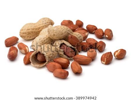 Opened and whole peanut or groundnut pod isolated on white background close up - stock photo