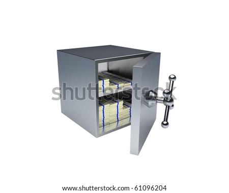 opened bank vault with billion dollars inside - stock photo