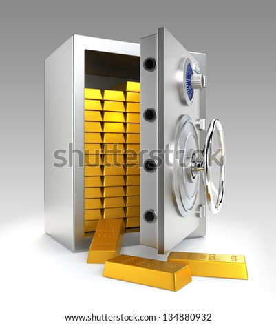 Opened bank vault with gold bars inside