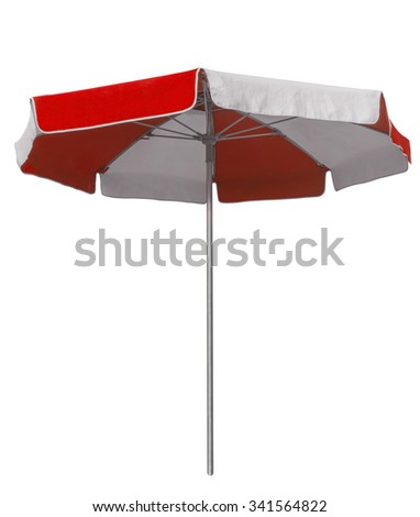 Opened beach umbrella with red and white stripes isolated on white. Clipping path included. - stock photo