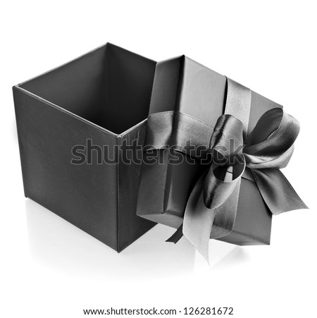 opened black box wrapping ribbon bow isolated on white - stock photo