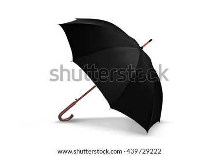Opened black umbrella on white background - stock photo