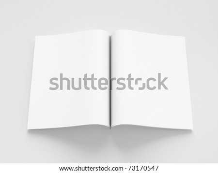 opened blank book 3d render on gray background