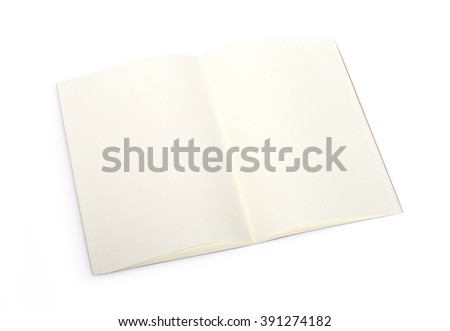 Opened blank book with clipping path