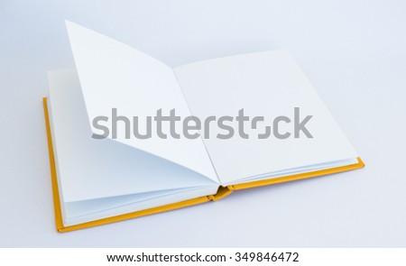 opened blank notebooks isolated on white background - stock photo