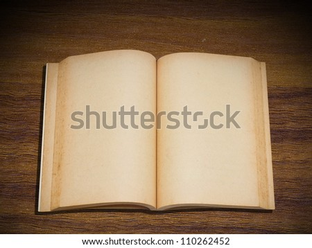 Opened blank pages of old book on wood background - stock photo