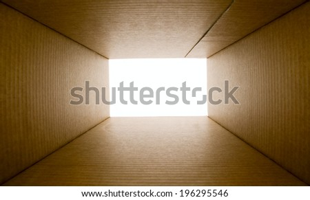 Opened blank paper box from the bottom - stock photo