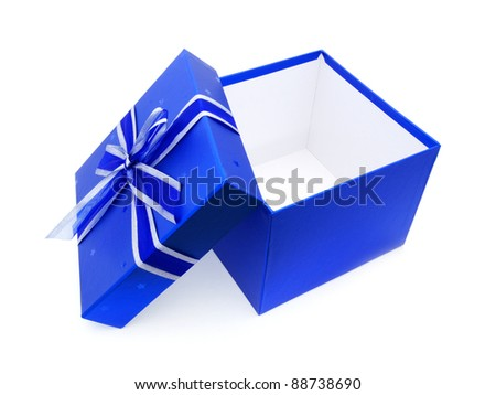 Opened Blue Gift Box with lid and ribbon over white - stock photo