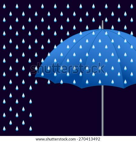 Opened blue umbrella and rain on dark background. Raster version. - stock photo