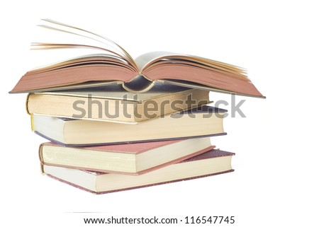 opened book, close up isolated on white background