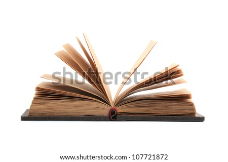 Opened book isolated on a white background - stock photo
