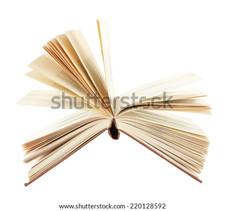 Opened book isolated on white