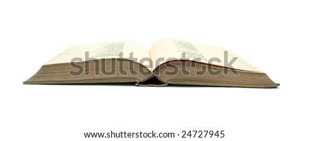Opened book isolated on white.