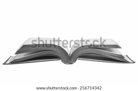 Opened book isolated on white surface.